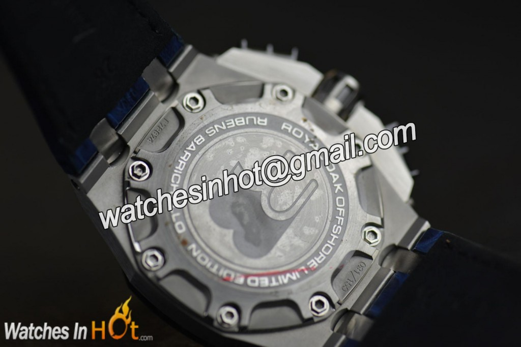 Caseback of Audemars Piguet Royal Oak Offshore Rubens Barrichello II 26078PO.OO.D018CR.01 Replica Watch Noob Edition