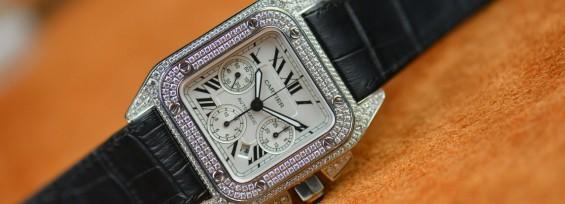 Cartier Santos 100 Chronograph Diamond Set Replica Watch W20073X8